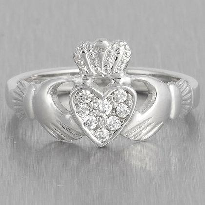 Estate 14k White Gold Diamond Heart Claddagh Ring 0.15ctw Size 7.75 IRELAND