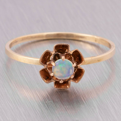 Antique Victorian Estate 14k Yellow Gold Round Opal Ring Size 6.5