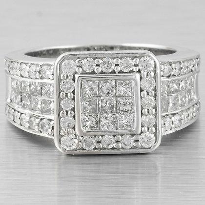 Modern Estate 14k White Gold Princess Cut & Round Diamond Ring 2.09ctw