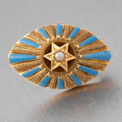Antique Victorian Etruscan Revival 14k Yellow Gold Pearl Blue Enamel Star Pin