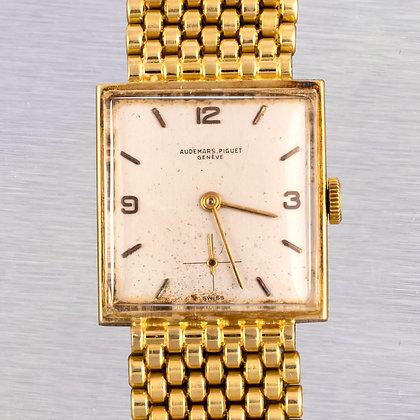 Vintage 1950's Audemars Piguet 18k Yellow Gold Silver Dial 24mm Square Watch