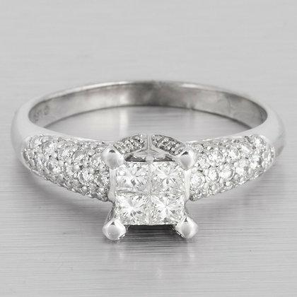 14k White Gold Four Stone Princess Cut Diamond Ring w/ accents 0.80ctw size 7.75