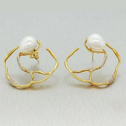 Ippolita 18k Yellow Gold Perla Circular Diamond & Pearl Custom Made Earrings