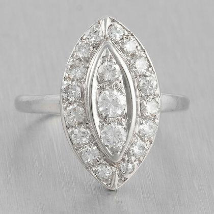 Antique Art Deco 14k White Gold Marquise Diamond Cluster Ring 1.00ctw