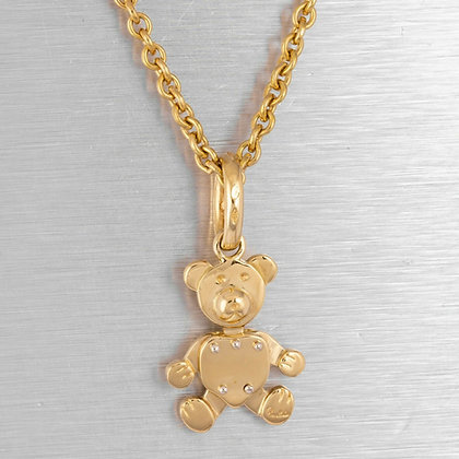 "Pomellato Orsetto 18k White & Yellow Gold Baby Bear Charm Necklace 19"" 19.7g"