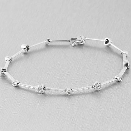 """Estate 14k White Gold Diamond 26 Heart Station Bracelet 0.30ctw 7.5"""" 5.9g"""
