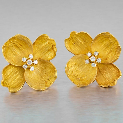 Tiffany & Co. 18k Yellow Gold Diamond Dogwood Flower Earrings 0.70ctw JUMBO