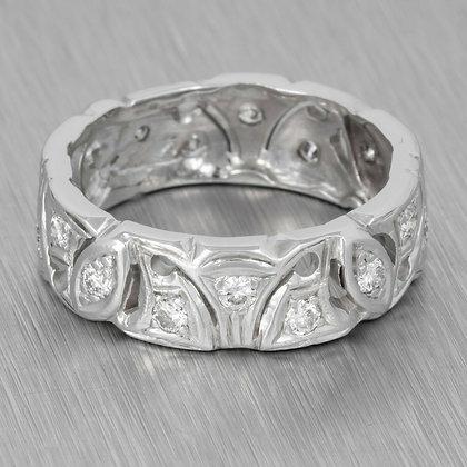 Antique Art Deco 14k White Gold Eternity Band 0.25ctw Ring Size 7.75