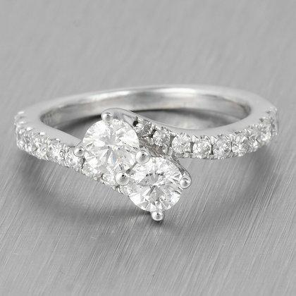 Modern Estate 14k White Gold Two Stone Diamond Bypass Ring 1.14ctw Size 5.25
