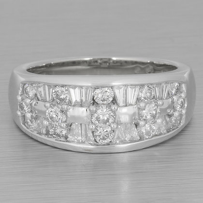 Estate 14k White Gold Round & Tapered Baguette Diamond Ring 0.65ctw Size 6.75