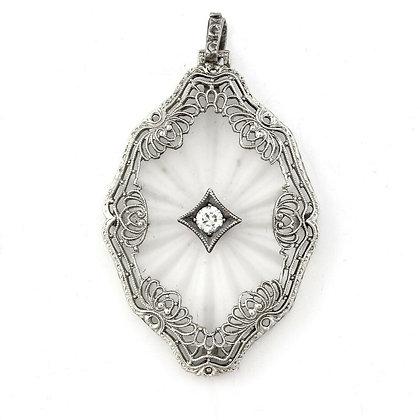 Antique Victorian 14k White Gold Diamond Camphor Glass Filigree Pendant 0.10ctw