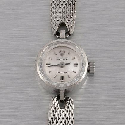 Rolex Precision 18k White Gold Case Silver Linen Dial 15mm Ladies Watch Ref 2633