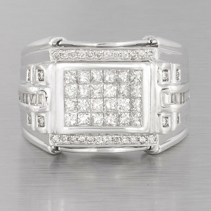 Men's Estate 14k White Gold Baguette & Princess Cut Diamond Ring 2.00ctw sz. 10