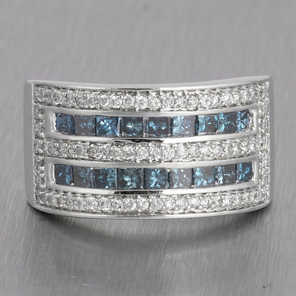 14k White Gold Wide Five Row White & Blue Diamond Band 1.60ctw Ring Size 6.75