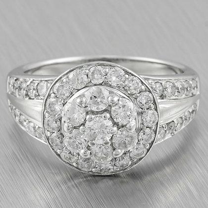 Modern Estate 14k White Gold Diamond Halo Cluster Ring 0.90ctw Size 7
