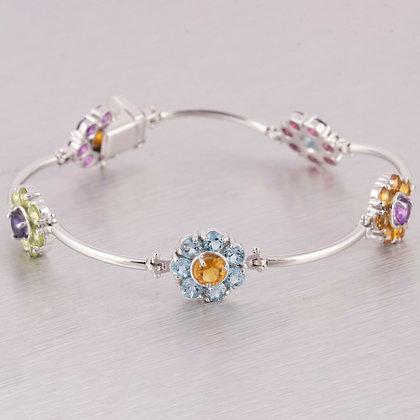 """14k White Gold Multi Color Gemstone Flower Station Bracelet 7"""" ITALY"""