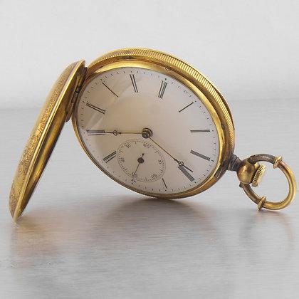 Antique 1850s Louis Reymond Locle 18k Yellow Gold Swiss Pocket Watch Size 10s