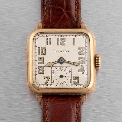1928-1933 Hamilton Hastings 14k GF Silver Dial Square 27mm Watch Cal 987-F