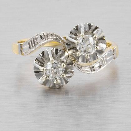 Antique 18k Yellow Gold & Platinum Top Two Stone Diamond Ring 0.50ctw sz 8.5