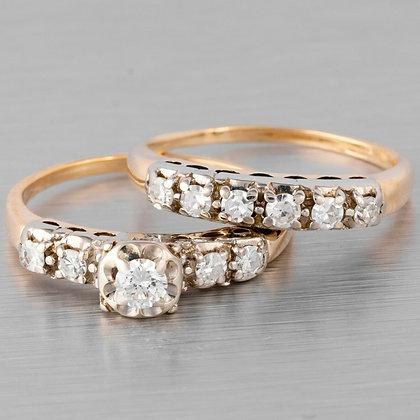 14k White & Yellow Gold Diamond Wedding & Engagement Ring Set 0.52ctw Size 6.25