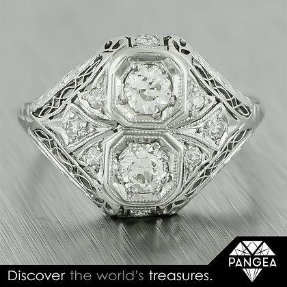 1900's Antique Edwardian Platinum 0.65ctw Cocktail Diamond Ring EGL $2,860