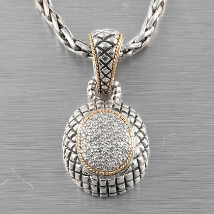 Effy BH Sterling Silver & 18k Yellow Gold Pave Diamond Pendant Toggle Necklace