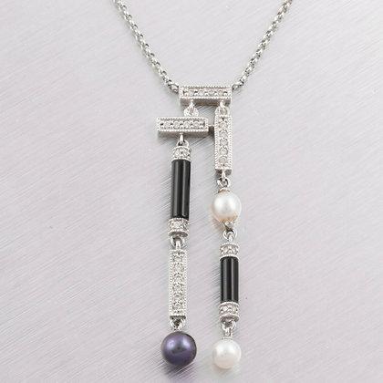 14k White Gold Diamond, White & Tahitian Pearl Onyx Drop Necklace 0.20ctw