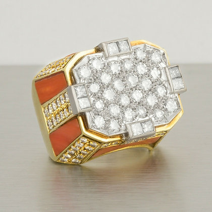 HEAVY HUGE Platinum & 18k Yellow Gold Coral Diamond Cocktail Ring 5.85ctw