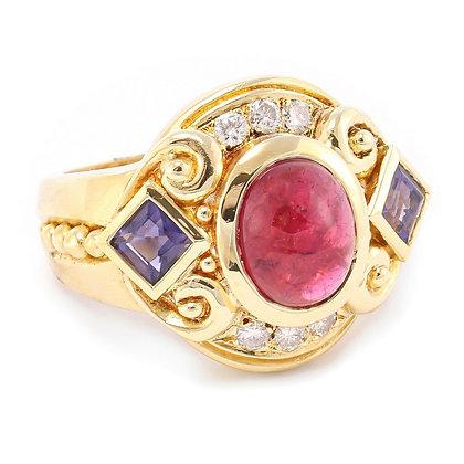 Retro Estate 14k Yellow Gold Cabochon Ruby Iolite Diamond Sandblast Ring 0.20ctw