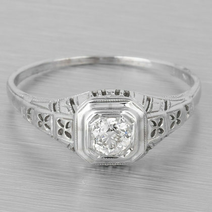 Antique Art Deco Solid 18k White Gold Diamond Engagement Ring 0.20ct Size 7.75
