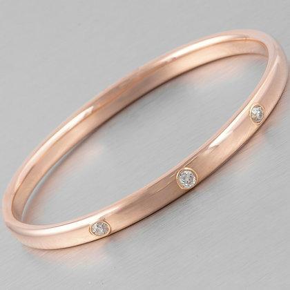 Antique 14k Rose Gold 3 Stone Old Mine Diamond Bangle Bracelet 1.10ctw