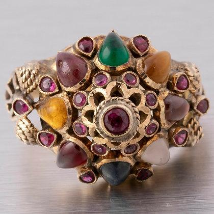 Vintage 1940s Thai Princess Harem 18k Solid Yellow Gold Multi Gemstone Ring