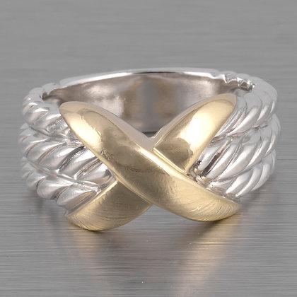 "David Yurman Signature "" X "" 925 Silver & 14k Gold Triple Row Cable Ring size 6"