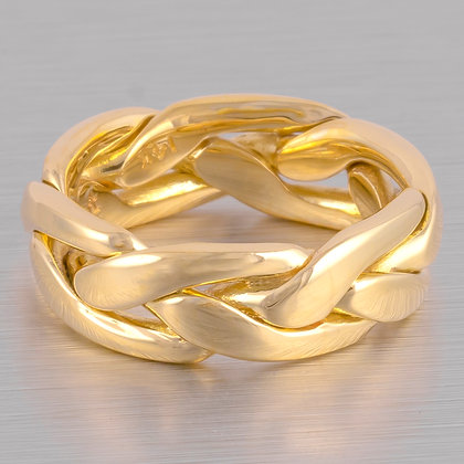 Vintage Estate 14k Yellow Gold Interwoven Link Band - Ring Size 4.5 / 7.6 grams