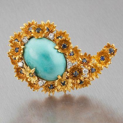 Boris Le Beau 18k Yellow Gold Sapphire Diamond Turquoise Flower Brooch Pin RARE