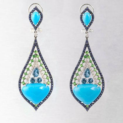 14k White Gold Multi-Gem Diamond Cabochon Turquoise Teardrop Dangle Earrings