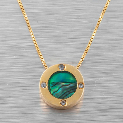 """Vintage 14k Yellow Gold Green MOP Abalone & Aquamarine Disk Necklace 16.5"""" ITALY"""