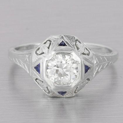 Antique 20k White Gold Domed Filigree Diamond Sapphire Ring 0.63ct EGL $4,170
