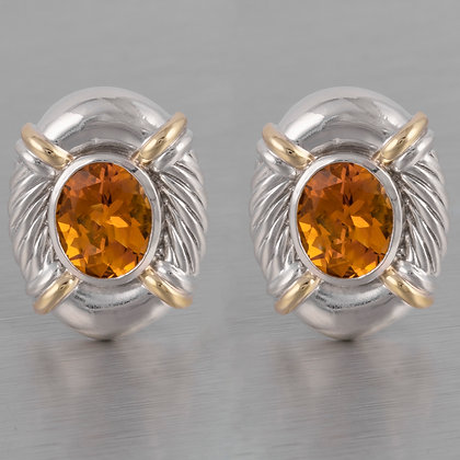 David Yurman Vintage 925 Sterling Silver & 14k Gold Oval Citrine Cable Earrings