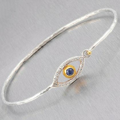 925 Sterling Silver & 24k Yellow Gold Diamond Sapphire Evil Eye Bangle 0.30ctw