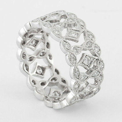 Beverly K Simply Divine 18k White Gold Boxed Diamond Wide Eternity Band 1.02ctw