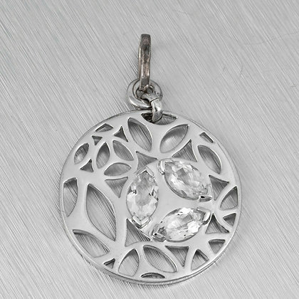 Di Modolo Ricamo Rhodium Plated 925 Sterling Silver Quartz Crystal Pendant