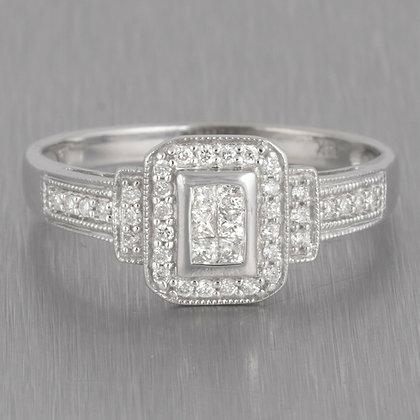 14k White Gold Six Stone Princess Diamond Halo Ring w/ accents 0.50ctw Size 8.75