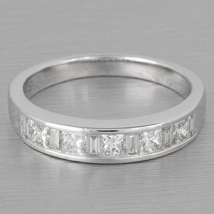 Modern Estate 18k White Gold Princess & Baguette Diamond Ring 0.75ctw sz. 6.25