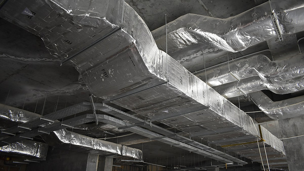 Stock Photo of MEP Duct works in civil construction site.