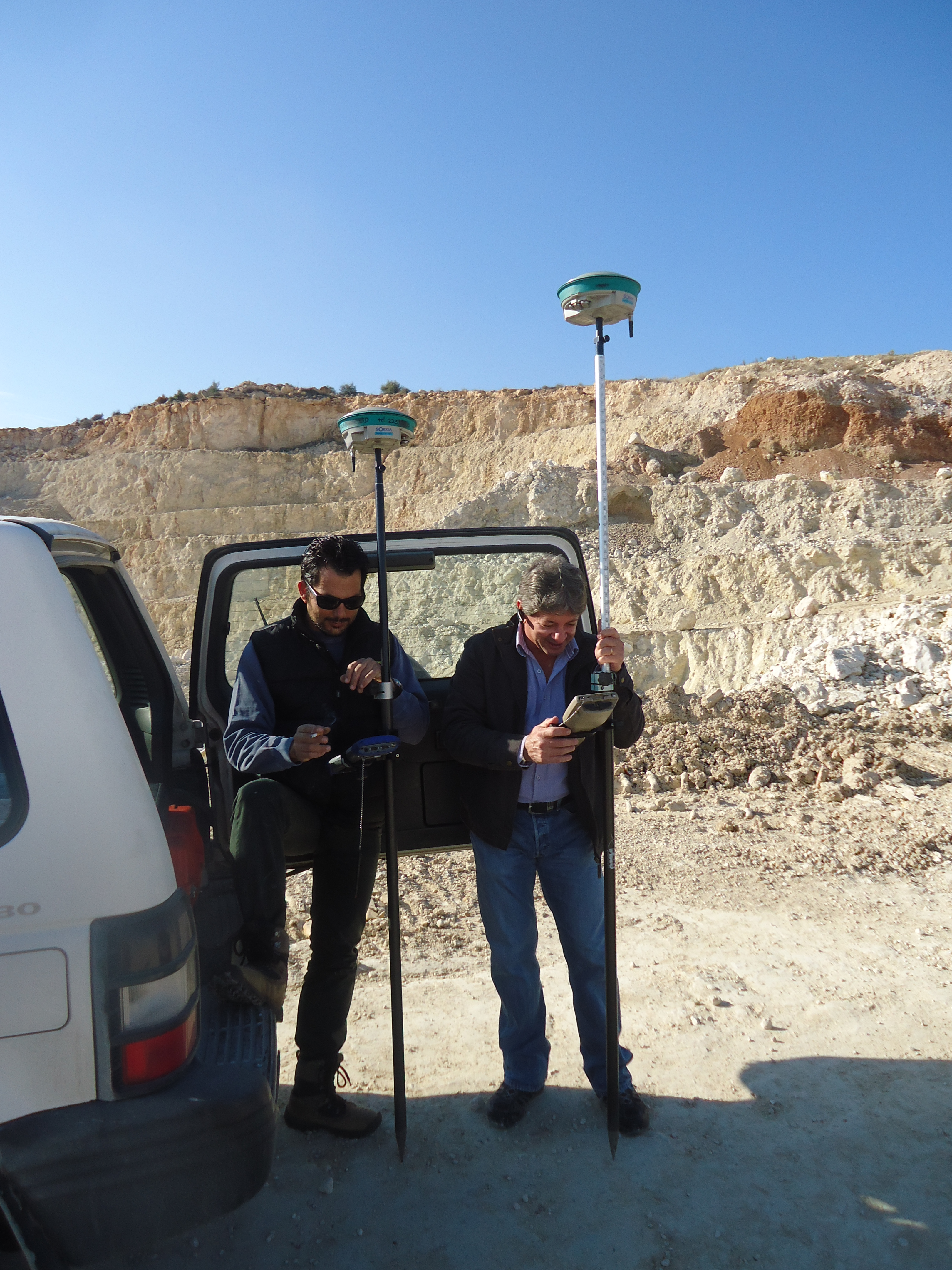 Surveying work with two Surveyors