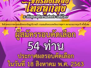 ขอขอบคุณผู้สนใจสมัครเข้าร่วมการประกวดกว่า 54 ท่าน ประกาศผลรอบคัดเลือกในวันที่ 18 สิงหาคม พ.ศ. 2563