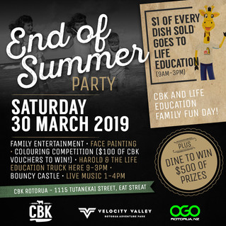 END OF SUMMER PARTY AT CBK ROTORUA WITH LIFE ED