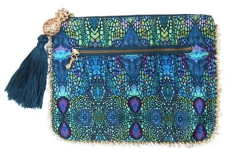 BLUE IGUANA CLUTCH BAG