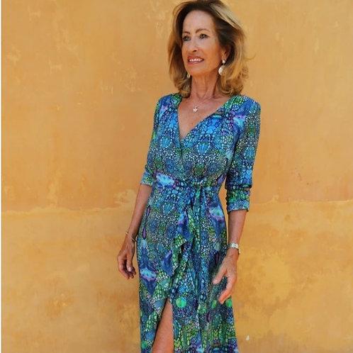 BLUE IGUANA RUFFLE WRAP DRESS